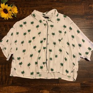 Palm Tree Cropped Button-up